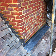 Chimney step lead flashing work